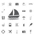 yacht icon summer set vector image
