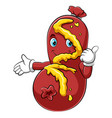 a cartoon cute sausage character giving thumbs up vector image vector image