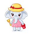 baby elephant in a hat is holding a scoop