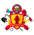 badge with firefighting items fire protection vector image vector image