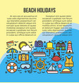 beach summer holidays or sea cruise travel vector image