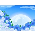 Blue White Flower In front of thee Moon In the Sky vector image vector image