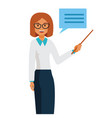 business woman teacher standing with pointer vector image vector image