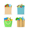 cartoon color shopping bag with food icon set vector image
