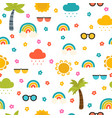 colorful summer seamless pattern with hand drawn vector image vector image