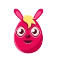 Easter Egg Shaped Pink Easter Bunny With Blond vector image vector image