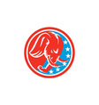 Elephant Head Side Stars Circle Retro vector image vector image