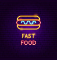 fast food neon label vector image vector image