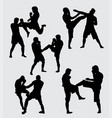 fighting training sport silhouette vector image vector image