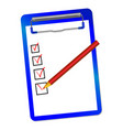 folder with clip and red pensil vector image vector image