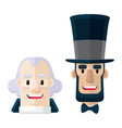 george washington and abraham lincoln icons vector image