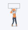 girl holding a sign over her head vector image vector image