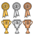 Gold silver and bronze awards set vector image