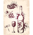 hand drawn vector vintage wine icons vector image vector image