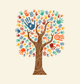 hand tree colorful diverse community vector image