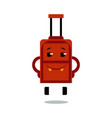 happy suitcase cartoon character with smile on vector image vector image