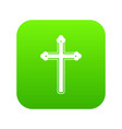 holy cross icon digital green vector image
