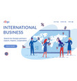 international business landing page flat template vector image