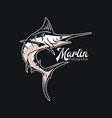 logo design marlin fishing club with marlin fish vector image vector image