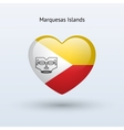 Love Marquesas Islands symbol Heart flag icon vector image vector image