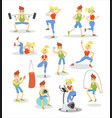man and woman exercising set fitness couple doing vector image