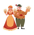 man and woman in traditional german bavarian vector image vector image