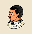 man with a ribbon for tattoo in vintage style vector image