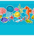 Marine life sticker seamless pattern with sea vector image vector image
