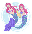 mermaid squid princess sea animals vector image vector image