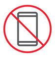 no phone line icon prohibition and forbidden vector image vector image