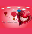 paper carve heart shape to valentines day concept vector image