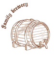 pencil hand drawn of beer barrel with label family vector image vector image