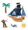 pirate treasure adventure sea nautical vector image vector image