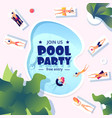 pool party summer swimming event flyer water vector image vector image