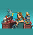 pop art businesswoman in the workplace vector image