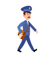 postman delivering mail isolated cartoon vector image vector image