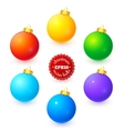 Rainbow colors Christmas balls set vector image