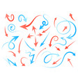 red and blue arrows turned in different directions vector image