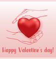 red heart in human hands vector image vector image