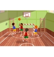 school basketball team playing game kids