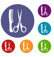 scissors and comb icons set vector image vector image
