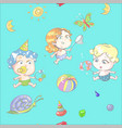 seamless pattern with cartoon cute kids on vector image vector image