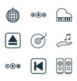 set of 9 multimedia icons includes extract device vector image vector image
