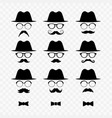 set of men images with hats and mustaches vector image