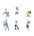 set of six joyful characters vector image vector image