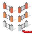 Set of three different color fence sections vector image vector image