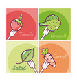 set of vegetables cartoons vector image