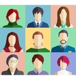 set people faces avatars flat icons vector image