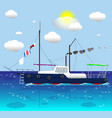 ship floating on sea vector image