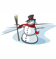 snowman with broom vector image vector image